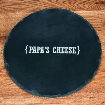Personalised Swirl Brackets Round Slate Cheese Board